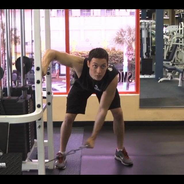 Bent Over Cable Lateral Raise Start