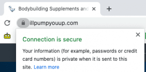 Secure browser lock icon on illpumpyouup.com