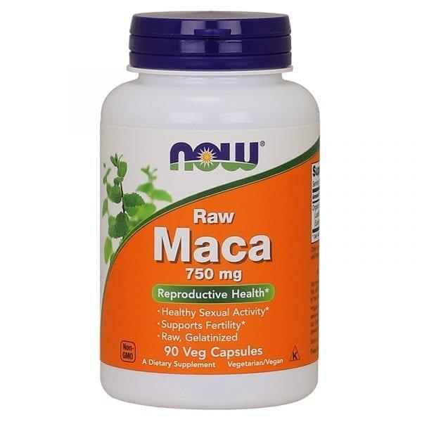 now raw maca 750mg 90 capsules